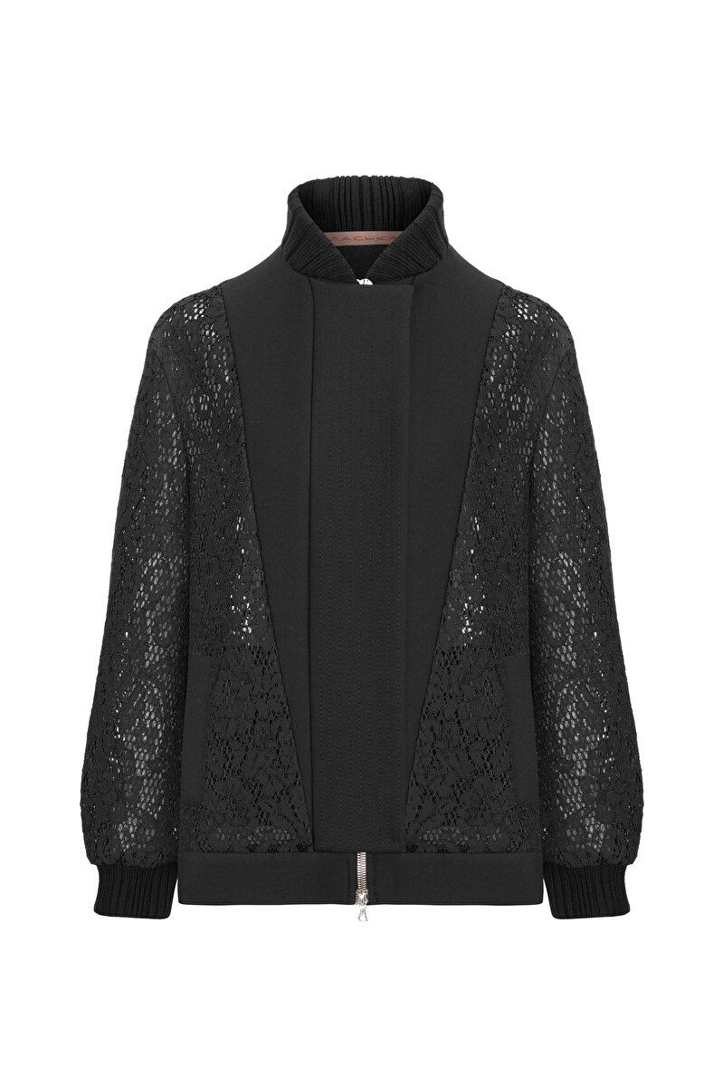 BONDED BOMBER JACKET WITH LACE