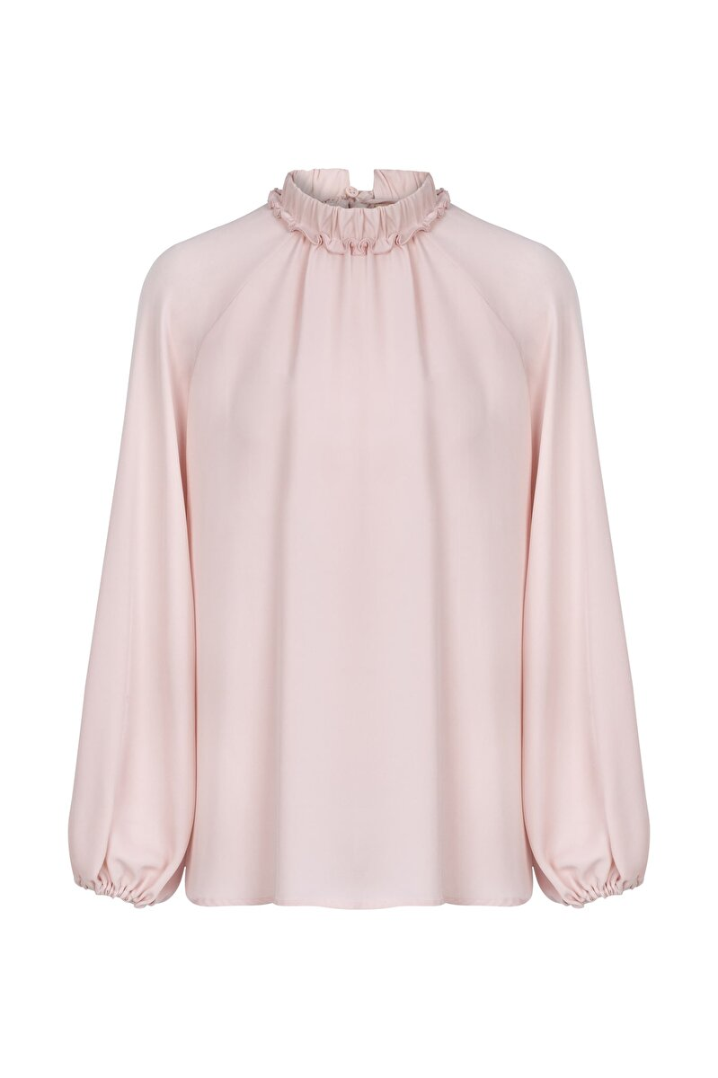 BALLOON SLEEVED SILK BLOUSE WITH SHIRRED NECK