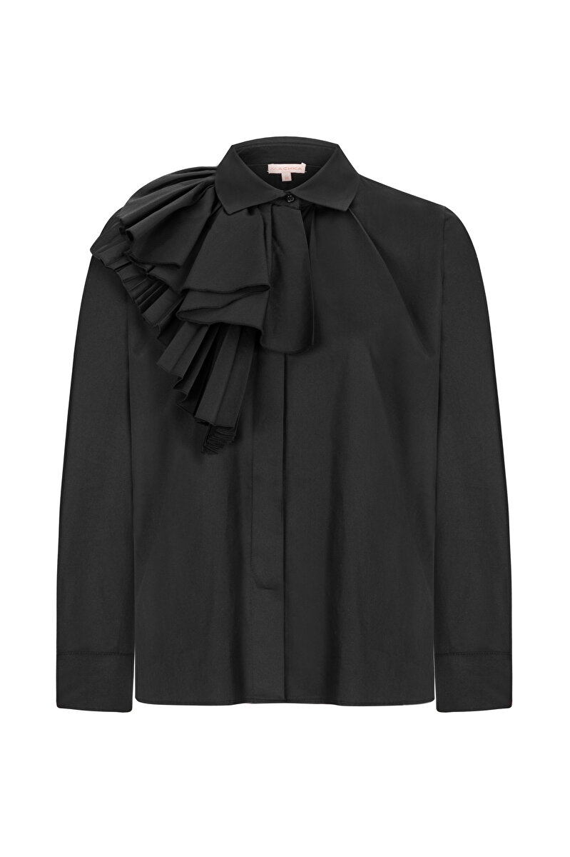 POPLIN SHIRT WITH PLEATED SIDE