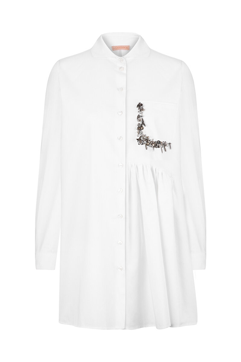 ONE-SIDED FLARED POPLIN SHIRT WITH EMBROIDERED POCKET