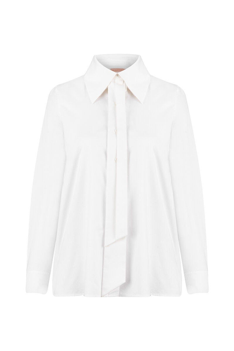 ASYMMETRIC NECK POPLIN SHIRT
