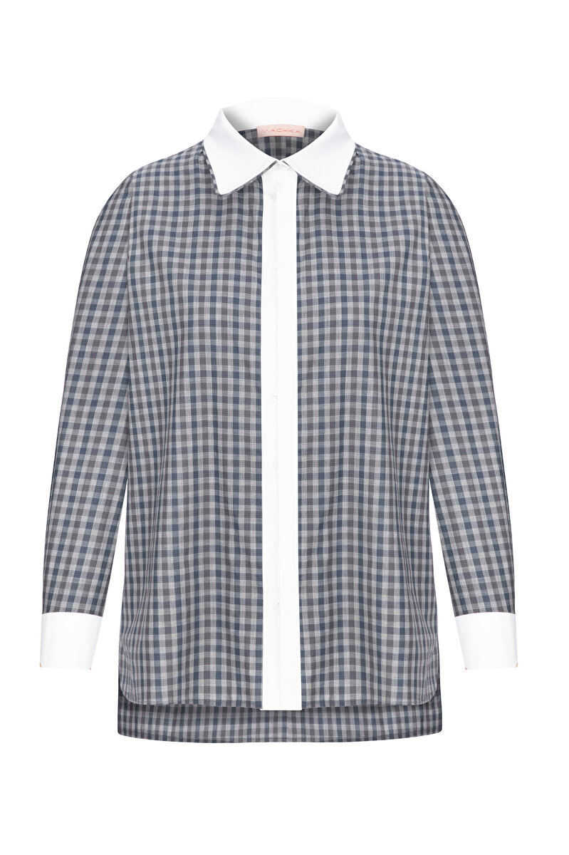 BINDING DETAIL PLAID POPLIN SHIRT