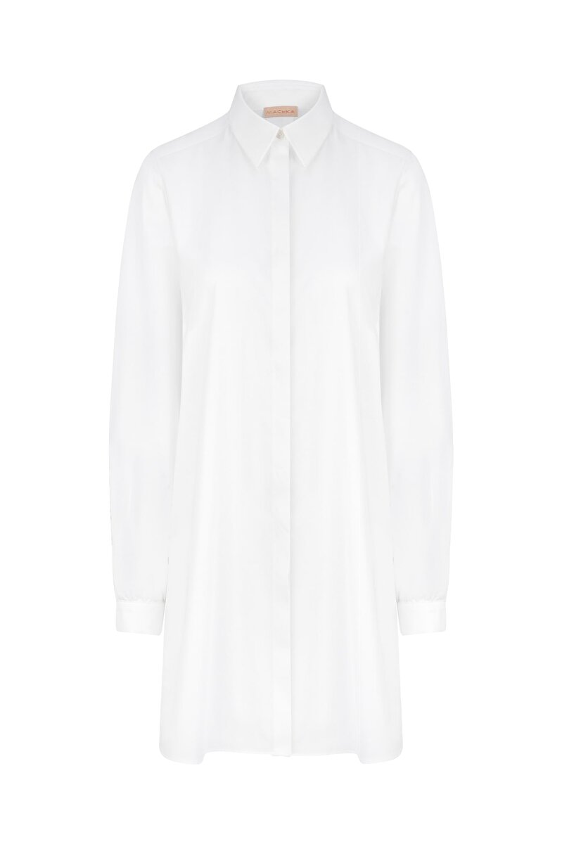 MALE COLLARED POPLIN SHIRT WITH SCALLOP SLEEVES