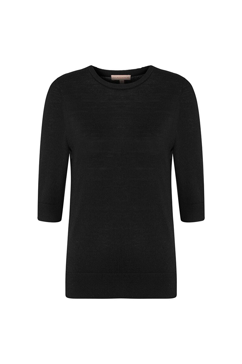 HALF-SLEEVED CREW NECK BASIC SWEATER