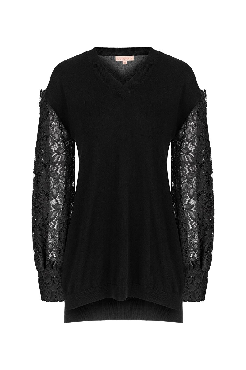 V NECK BALLOON SLEEVED TRICOT WITH FRENCH LACE