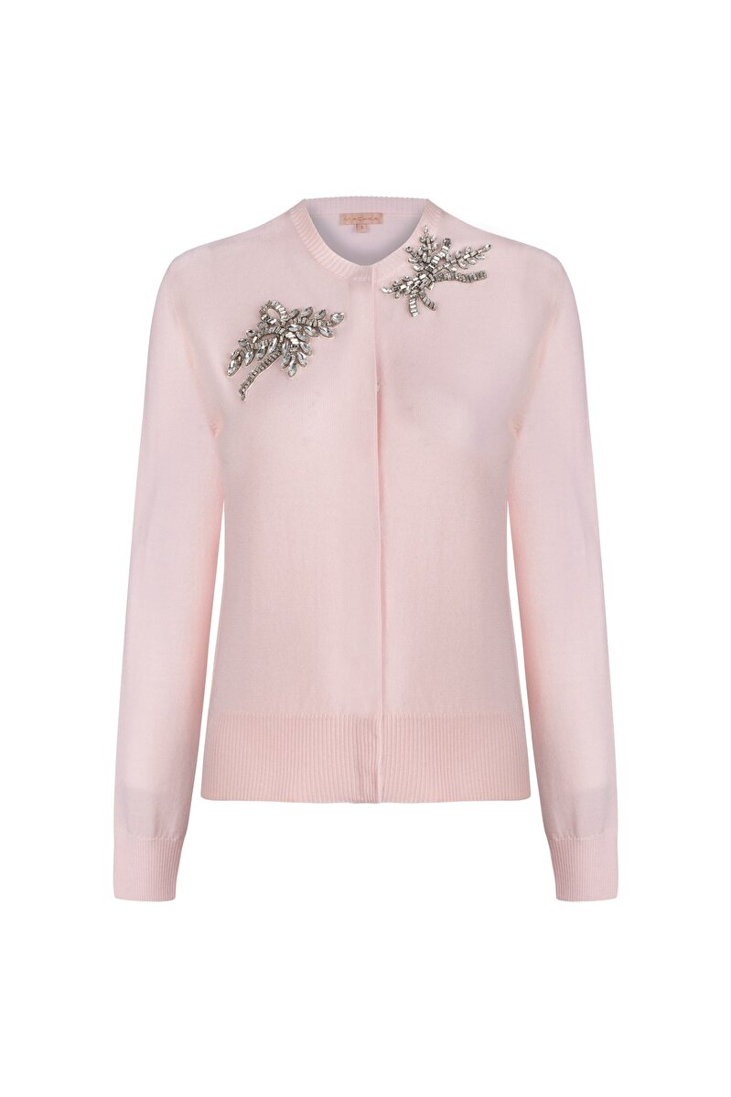 CREW NECK CARDIGAN WITH STRASS AND FLOWER MODULE