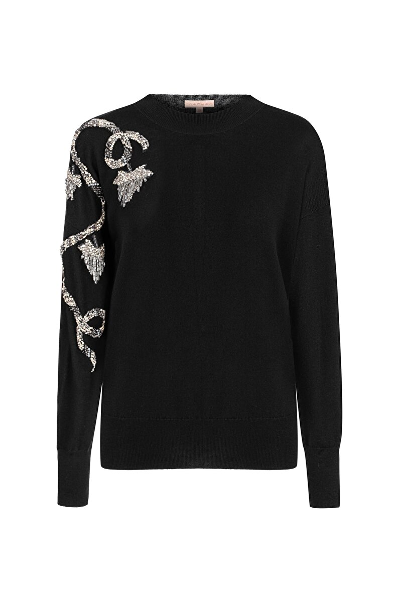 STONE AND FRINGE EMBROIDERED MERINO WOOL SWEATER
