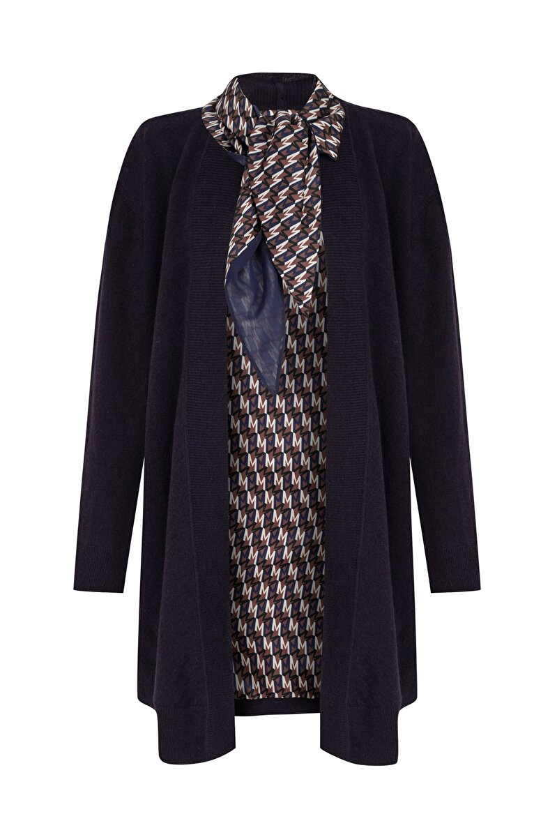 M FOR MACHKA PATTERNED FOULARD AND LINING DETAILED WOOL CARDIGAN