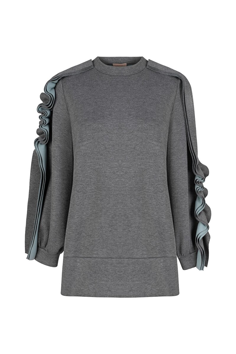 DIFFERENT FABRIC DETAILED BONDED JERSEY SWEATSHIRT