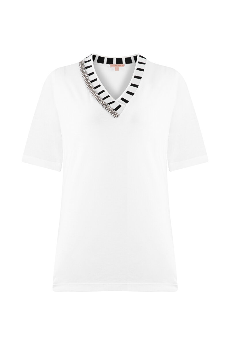 RIBBED STRIPED NECK EMBROIDERED SHIRT