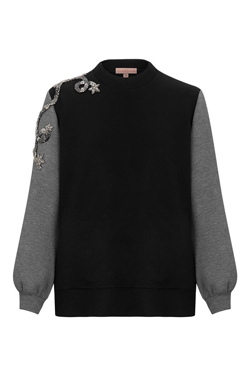 STAR CLUSTER MODULE EMBROIDERED BONDED JERSEY SWEATSHIRT